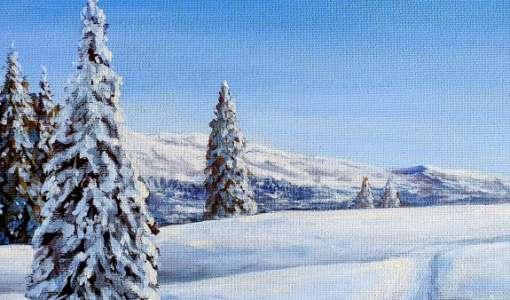 Winterlandschaft in Acryl