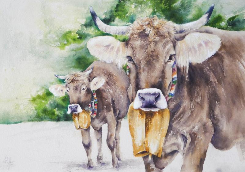 **Kühe im Aquarell
