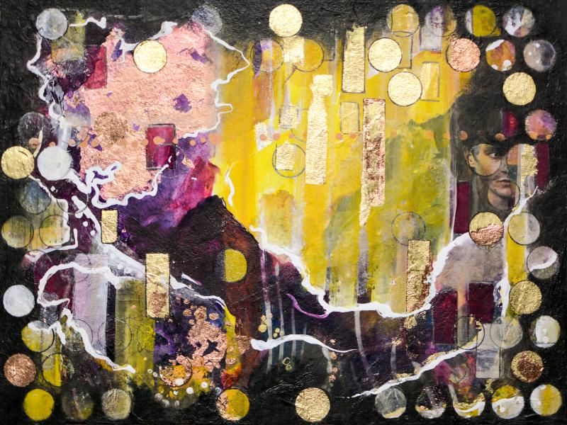 *Mixed Media: Collage, Vergoldung und Acryl auf Leinwand