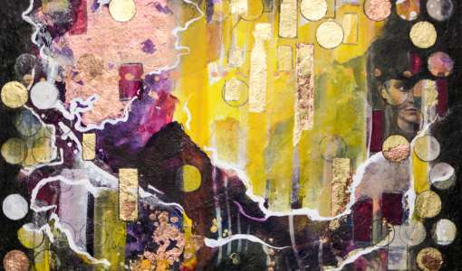 *Mixed Media: Collage, Vergoldung und Acryl auf Leinwand