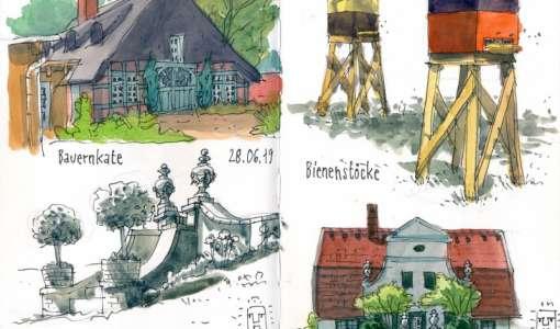 Unterwegs mit dem Skizzenbuch- Kontur trifft Farbe